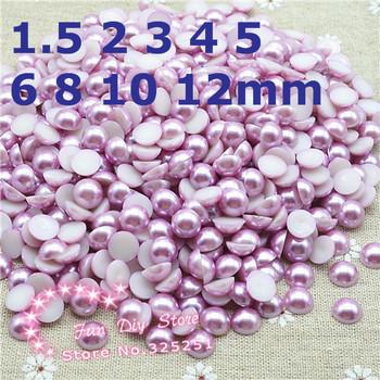 resin half round pearl light purple 1.5-12mm 10000-200pcs/lot flat back cabochon half pearl free shipping