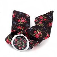 Free Shipping Fashion Colorful Flower Cloth Wrist Watch For Women Dress Lady Bracelet Watch