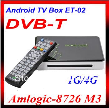 DVB-T Receiver Google Android 4.0 Smart TV Box IPTV WiFi Internet HD 1080P HDMI player ARM Cortex A9 1GB /4GB ET02 DVB T