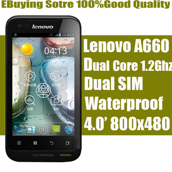 Gift--Original Lenovo A660 phone Tri-proof phones Android 4.0 IP67 Dual-core 1.2GHz cpu Dual SIM card 4.0 inch Dual cameras