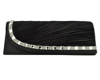 New Design! Elegant Diamante And Crystal Decoration Women Clutch Evening Bags With the Pleated Design CB050