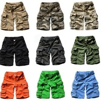 FREE SHIPPING New Mens Casual Multi Pockets Cargo Shorts Pants Army Camo Trousers with Belt