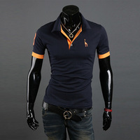 2014 New Casual Men's Slim Fit Stylish Short Sleeve Shirts for man black white red green dark blue  yellow M/L/XL/XXL MTP027