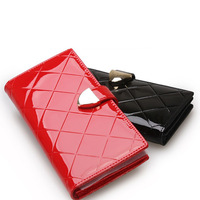 Free shipping Wallets female 2013 plaid japanned leather genuine leather long design women's wallet fashion wallet