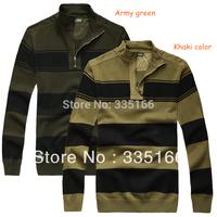Brand New Men Sweater Khaki/Army Green M-XXXL Plus Size,   Warm Striped Man Sweaters Pullovers For Spring&Autumn   #JM09402