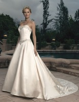 A-line Strapless Appliques/Embroidery/Pearl Detailing Cathedral Train Elegant Natural Satin Wedding Dresses
