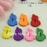Free shipping 200PCS Multicolor 2 Holes Snowman Wooden Buttons (LCT05x07) Wooden Craft Crafts Inch Clothes buttons