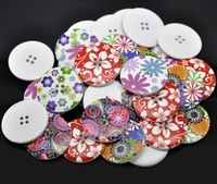 Free Shipping 30pcs Mixed Multicolour Flower Print 4 Holes Wooden Buttons 40mm(B54L01X05) Sewing Scrapbooking  Crafts