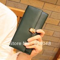 Fashion skull women's 2013 fashion genuine leather wallet long design cowhide wallet clutch female
