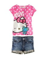 Free Shipping(5set/lot)2013 New girl's Clothing sets baby suits Children's Hello Kitty tees+Jeans Shorts 2pcs/set girl's suit