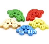 Free shipping 500PCS Multicolor 2 Holes car  Wooden Buttons (LC0119x07) Wooden Craft Crafts Inch Clothes buttons