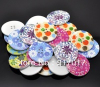 Free Shipping 50pcs Mixed Multicolour Flower Print 2 Holes Wooden Buttons 40mm(B64Lb101X05)Sewing Scrapbooking  Crafts