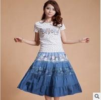 Wholsale Free Shipping Summer Short Skirt Women's Midguts Gradient Color Denim Bust Skirt