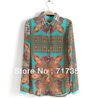 Fashion Summer 2013 Vintage Blouses Women Chiffon Colorful Printed Top Ladies' Stand Collar Button Long Sleeve Shirts 1PC 652378