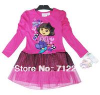 Free shipping Dora 2013 children's clothing dora long-sleeve dress female child layered dress baby one-piece dress rose