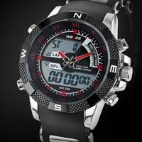 WEIDE 1104 Luxury Brand Men Sports Watch 3ATM Waterproof Multifunction Quartz Digital LED Backlight Military Watches Hot Sale