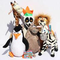 Free shipping 6pcs/set Madagascar 3 Alex Marty Melman Gloria plush toys soft toys 25cm