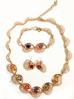 EEL Heart 18K Gold Plated Jewelry Necklace Earring Bracelet Set Made with Austrian Crystals wholesale free shipping
