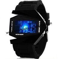 100pcs/lot fashion man sport led watch unisex airplane style digital watches black & white 2 colors