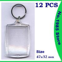 Brand New Blank Acrylic Keychains Insert Photo plastic Keyrings Square Key Rectangle heart circular