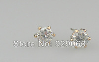 3pcs/E068/Rose Gold Plated 6 Prongs Sparkling 0.5ct Cubic Zirconia Diamond Post CZ Stud Earrings FREE SHIPPING! !High Quality