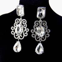 Promotion Gold Plated Big Rhinestone Crystal Water Drop Long Big Indian Bridal Drop Dangle Earrings Wedding Jewelry DDFJJS20145
