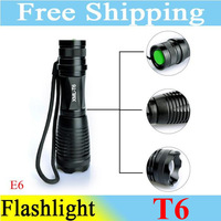 Wholesale! 2013 NEW Self Defense Portable Super Bright E6 T6 10W LED Flashlight 1300LM Zoom Waterproof Camp Torch Free Shipping