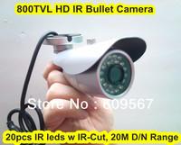 Cheap 800TVL HD Outdoor IR Bullet Camera, 20pcs IR leds with IR-cut , 25M Night Vision Range