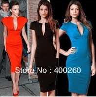 European and American women's models star quality T station Beckhams the same paragraph Slim pencil deep V-neck red dress