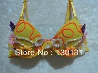LED el wire bra ,sexy costume women with yellow sunflower,light up flower bra