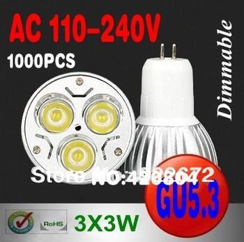 wholesale 1000PCS High Power Dimmable GU5.3 ( MR16) 3X3W 9W LED Light LED bulb LED lamp 110-240V (110V 220V) free shipping