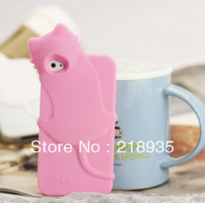 Wholesale Best Selling Cute Lovely Kiki Cat Silicone Soft Gel Rubber Case Cover For iPhone 4S 4 DHL free shipping