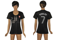13-14 Thailand series Portugal away women 7 RONALDO soccer jersey short,Lady football uniforms