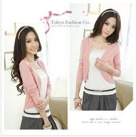 Celebrity Style Women Slim Waist Long-sleeve Collarless Sweater Coat Cardigan Outerwear Kintwear Tops 2014 New Free Shipping