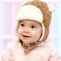 Free shipping 1Pcs/lot Corduroy baby hats thickening thermal protector ear cap winter beanies children hats cozy titfer A04M22