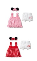 2014 Hot selling Lovely baby girl 3-piece suit: mouse ears' headband + polka dot dress + white shorts/ 2 colors: Pink and Red