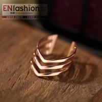 18KGP fashion arrow rings fashion women finger middle ring stainless steel jewelry wholesale free shipping