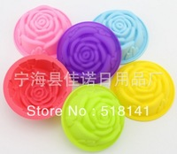 Min order $15 (mix order) silicone cake mold muffin mold ice cube mold 6pc Big Rose 60ml free shipping