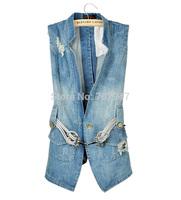 Free shipping 2014 jeans vest women fashion stand collar slim medium-long hole denim vest waistcoat belt