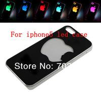 5PCS/lot Colorful Change logo Battery Sense Flash LED light Cover Case for Apple iPhone 5 5S + Retail Box free Shipping