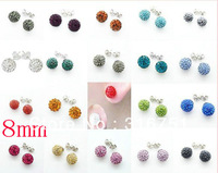 Free shipping 20pcs(10 Pairs) Mix Color 8mm Shamballa Disco Pave Crystal Ball Earrings