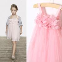 2014  new summer girl  petals spaghetti strap tulle  dress  child  dress. 6 pcs/lot