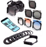 New 2014 Cokin P Filter 6X ND2 4 8 Graduated Color Grey Orange Blue 9 Adapter Ring Holder For Cokin P