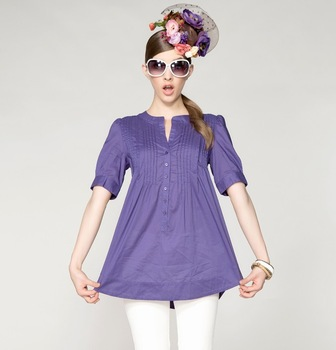free shipping Hot-selling 2013 cotton loose short-sleeve pullover new arrival summer   Korea style 100% cotton  blouse