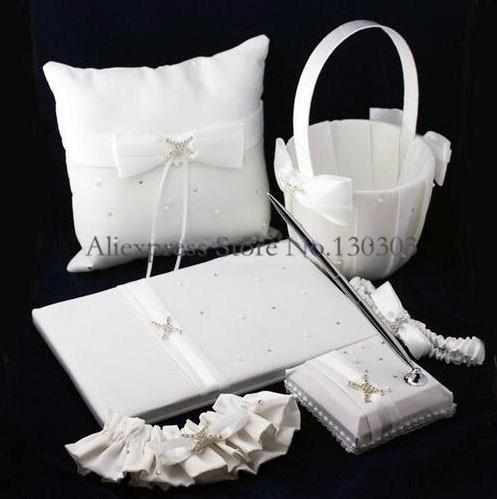 Free Shipping Wedding Party Stuff Supplies Sash Elegante Ribbon Pearl White Guestbook Pen Set Ring Pillow Flower Basket Garters()