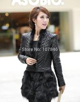 2014 woman's Fashion Genuine Sheepskin Leather Coat with Fox Fur Overcoat Female Warm Winter Outerwear  VK0715