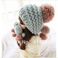 1 Piece Retail Hot Selling Women's Hats Winter Knitted Lady's Headwear Classical Gray Woman's Caps Fur Ball Lady's Accessory