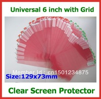 10pcs Free Shipping Universal CLEAR Screen Protector Protective Film 6 inch with Grid Size 129x73mm for Mobile Phone GPS MP4