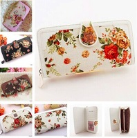 Classic brand design Roses Floral Women Purse Wallet Fashion Clutch Purse For Women button opening
