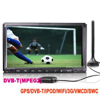 free shipping 7 inch 2 Din HD car dvd player Autoradio GPS car radio DVB-T bluetooth WiFi 3G iPod USB SD SWC KS1008